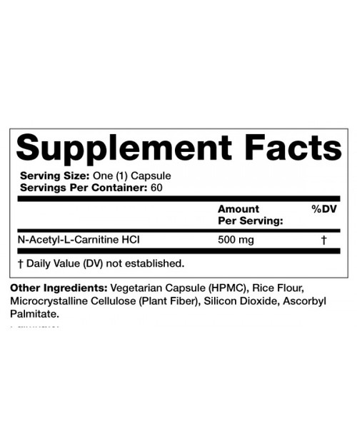 Supplement Facts for http://megafood-vitamins.com/images/Acetyl L-Carnitine