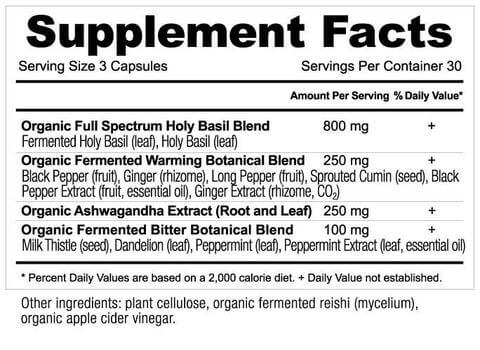 Supplement Facts for http://megafood-vitamins.com/images/Apothecary Holy Basil