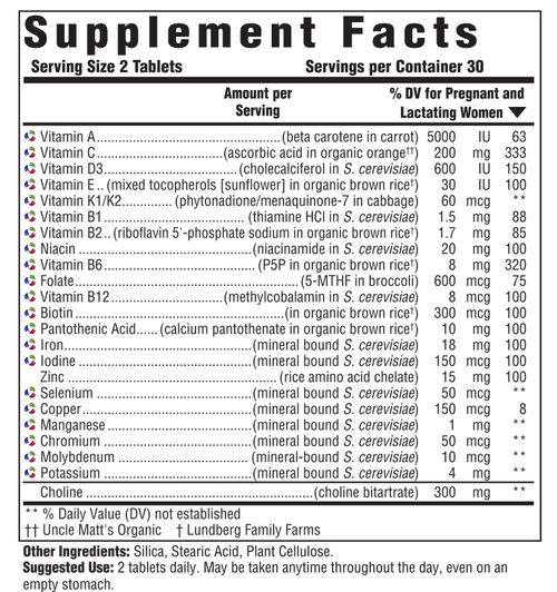 Supplement Facts for http://megafood-vitamins.com/images/Baby and Me 2