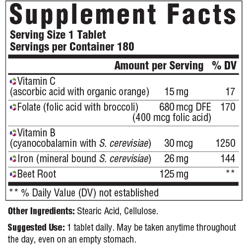 Supplement Facts for http://megafood-vitamins.com/images/Blood Builder