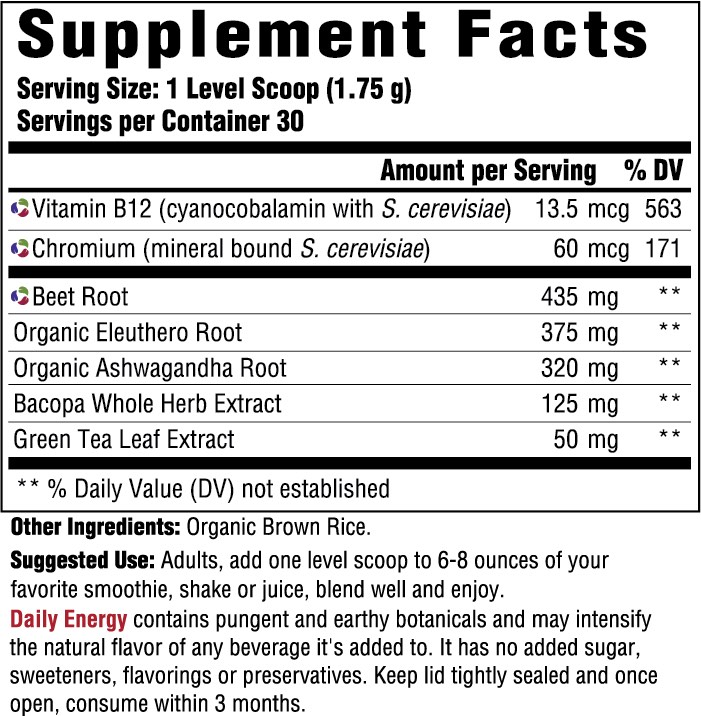 Supplement Facts for http://megafood-vitamins.com/images/Daily Energy