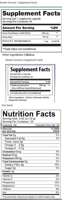 Supplement Facts for http://megafood-vitamins.com/images/Divine Health Elite Slender System