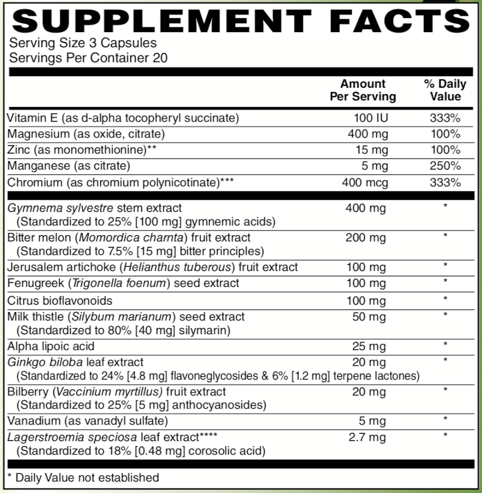 Supplement Facts for http://megafood-vitamins.com/images/Divine Health Enhanced Glucose Support