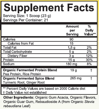 Supplement Facts for http://megafood-vitamins.com/images/Divine Health Fermented Protein Supremefood