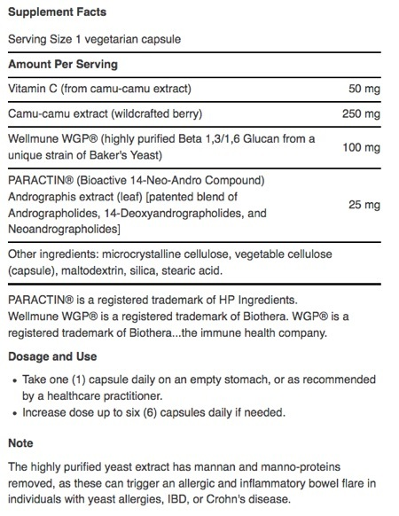 Supplement Facts for http://megafood-vitamins.com/images/Immune Protect With Paractin