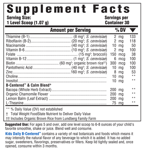 Supplement Facts for http://megafood-vitamins.com/images/Kids Daily B-Centered Nutrient Booster Powder