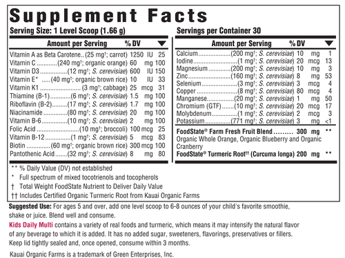 Supplement Facts for http://megafood-vitamins.com/images/Kids Daily Daily Multi Nutrient Booster Powder