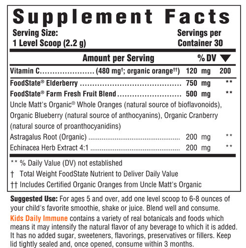 Supplement Facts for http://megafood-vitamins.com/images/Kids Daily Immune Nutrient Booster Powder