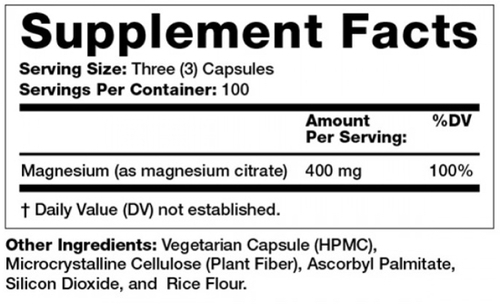 Supplement Facts for http://megafood-vitamins.com/images/Magnesium Citrate 400 mg