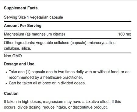 Supplement Facts for http://megafood-vitamins.com/images/Magnesium Citrate