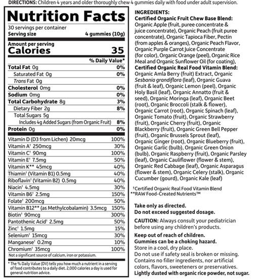 Supplement Facts for http://megafood-vitamins.com/images/MyKind Organics Kids Gummy Multi