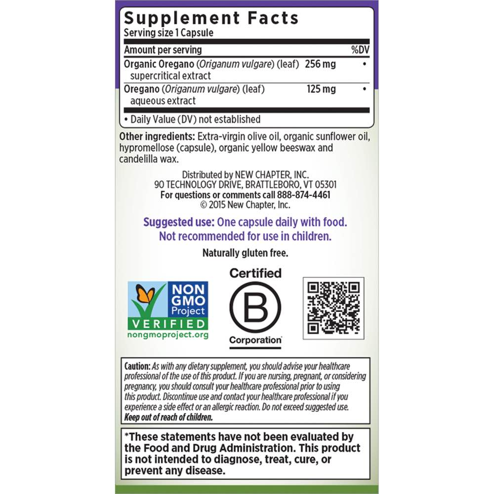 Supplement Facts for http://megafood-vitamins.com/images/Oregano Force