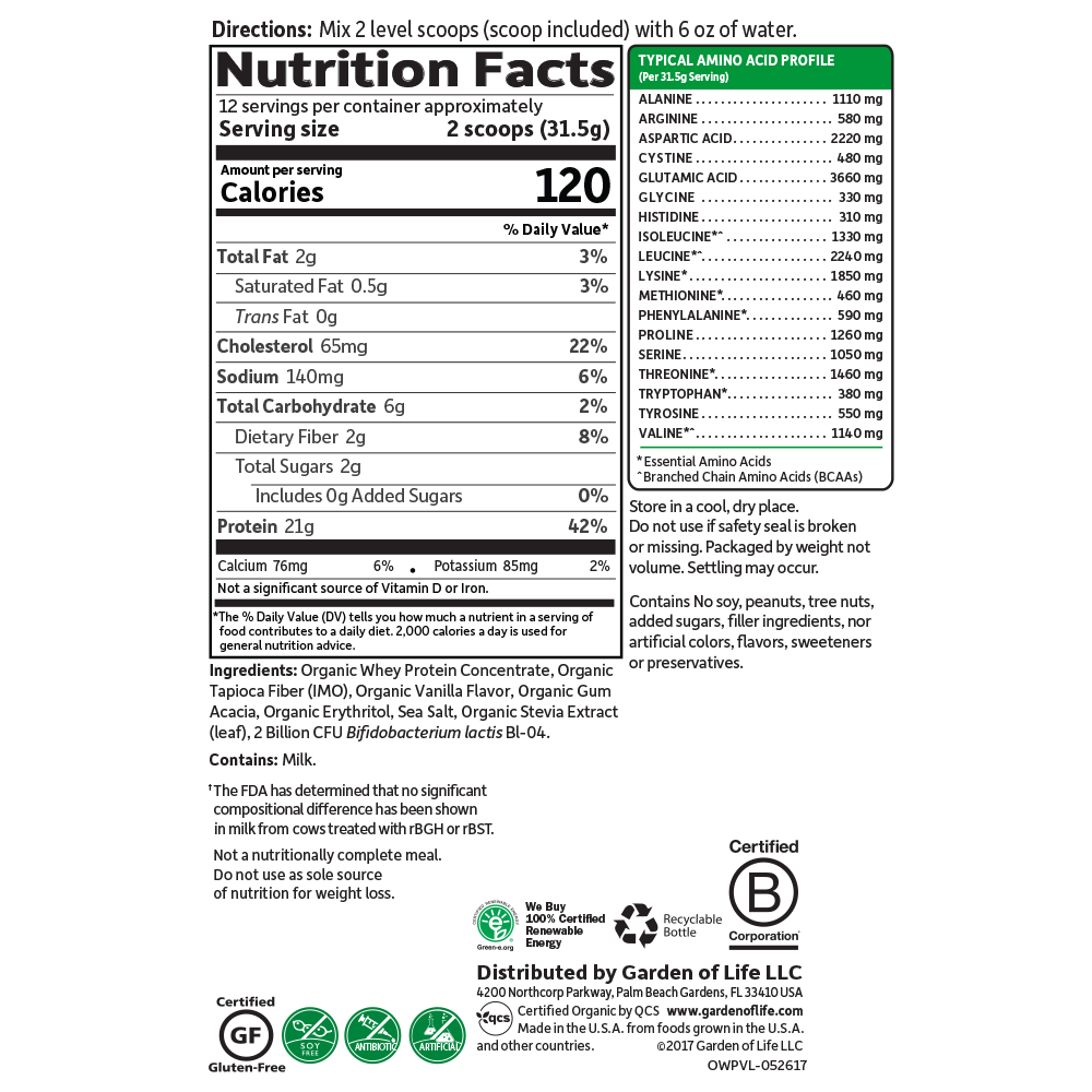Supplement Facts for http://megafood-vitamins.com/images/Organic Whey Protein