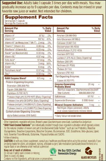 Supplement Facts for http://megafood-vitamins.com/images/RAW Enzymes Men 50 and Wiser
