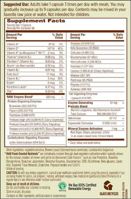 Supplement Facts for http://megafood-vitamins.com/images/RAW Enzymes Women 50 and Wiser