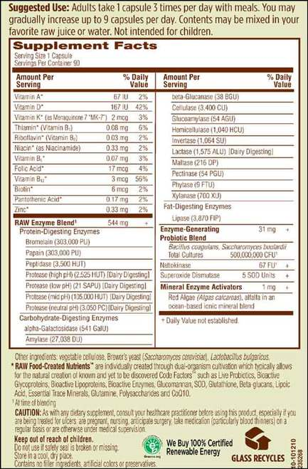 Supplement Facts for http://megafood-vitamins.com/images/RAW Enzymes Women