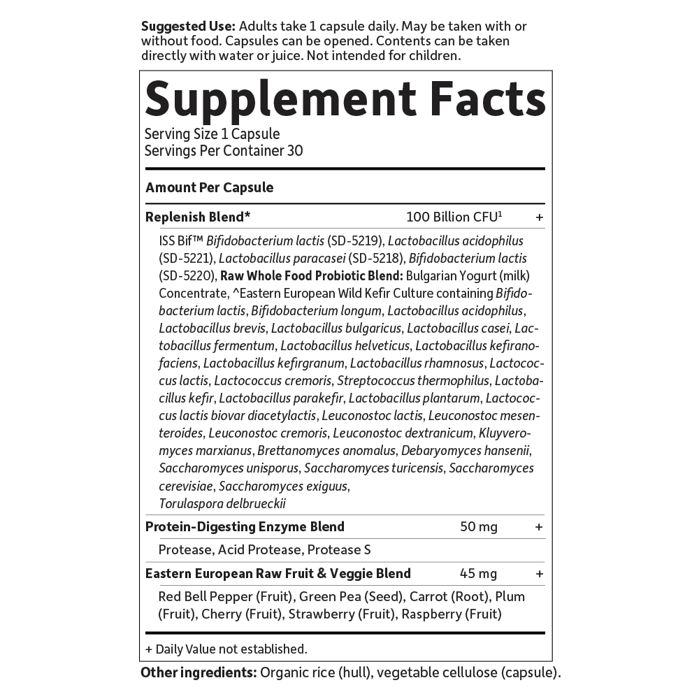 Supplement Facts for http://megafood-vitamins.com/images/RAW Probiotics Ultimate Care