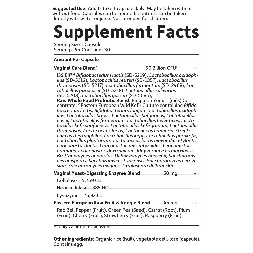 Supplement Facts for http://megafood-vitamins.com/images/RAW Probiotics Vaginal Care