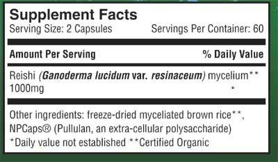 Supplement Facts for http://megafood-vitamins.com/images/Reishi