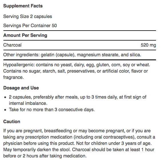 Supplement Facts for http://megafood-vitamins.com/images/Source Natural Charcoal