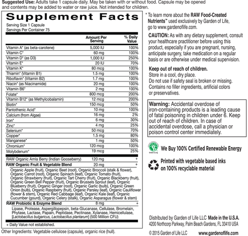 Supplement Facts for http://megafood-vitamins.com/images/Vitamin Code Raw One for Women